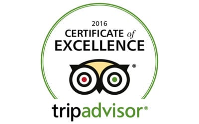Certificate of Excellence 2016 by TripAdvisor