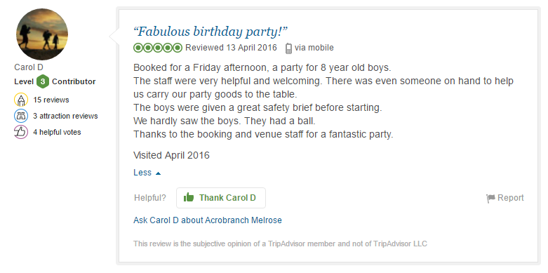 Birthday party review for Acrobranch Johannesburg
