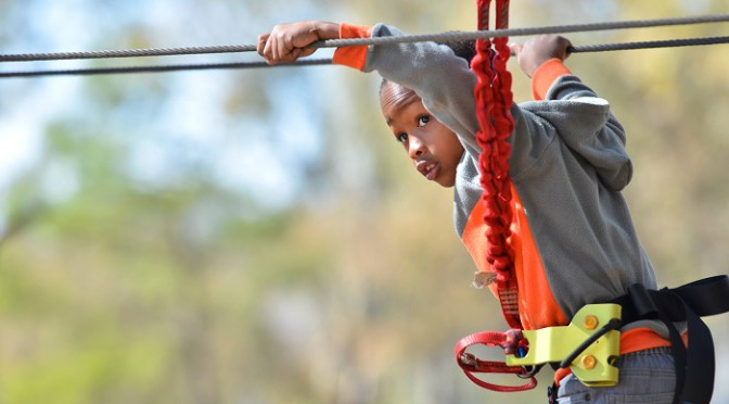 Kid on a zipline in Johannesburg