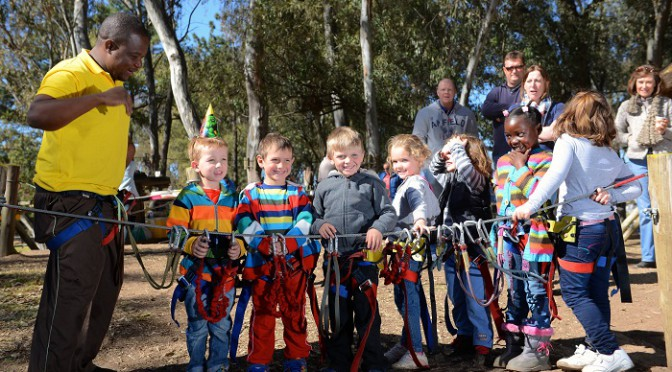 Group of kids at Acrobranch in Johannesburg